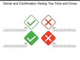 Denial And Confirmation Having Two Ticks And Cross