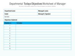 Departmental Todays Objectives Worksheet Of Manager