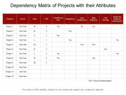 Dependency Matrix Of Projects With Their Attributes