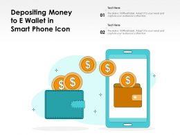 Depositing Money To E Wallet In Smart Phone Icon