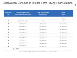 Depreciation Schedule In Tabular Form Having Four Columns