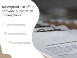 Description List Off Software Automation Testing Tools