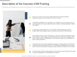Description Of The Courses CSM Training Professional Scrum Master Training Proposal It Ppt Formats