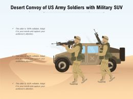 Desert Convoy Of US Army Soldiers With Military SUV