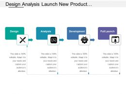 Design Analysis Launch New Product Development Stages With Icons