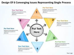design of 6 converging issues representing single process Radial Diagram PowerPoint templates