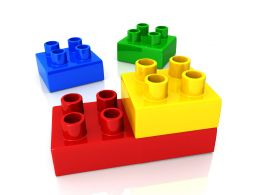 Design Of Multi Colored Blocks For Kids Education Stock Photo