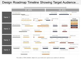 Design Roadmap Timeline Showing Target Audience And Touchpoints