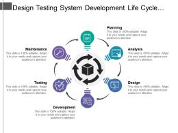 Design Testing System Development Life Cycle With Circular Arrows And Icons