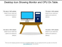 Desktop Icon Showing Monitor And Cpu On Table