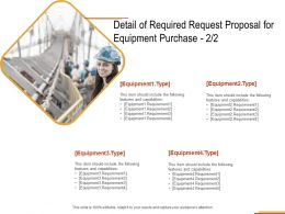 Detail Of Required Request Proposal For Equipment Purchase Strategy Ppt Powerpoint Presentation
