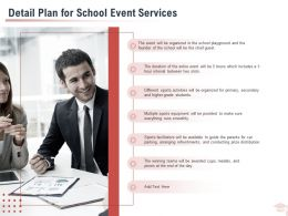 Detail Plan For School Event Services Ppt Powerpoint Presentation Slides Background Designs