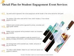 Detail Plan For Student Engagement Event Services Ppt Powerpoint Presentation Pictures