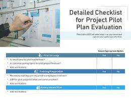 Detailed Checklist For Project Pilot Plan Evaluation