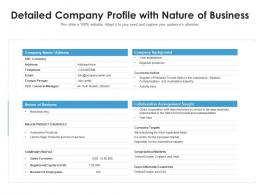 Detailed Company Profile With Nature Of Business