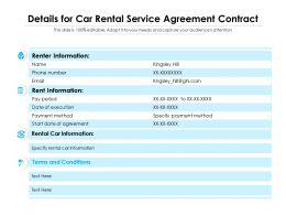 Details For Car Rental Service Agreement Contract