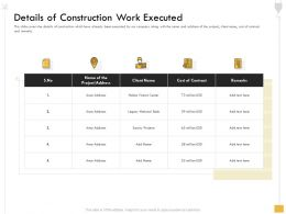 Details Of Construction Work Executed M2568 Ppt Powerpoint Presentation File Graphics