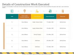 Details Of Construction Work Executed Visitors Center Ppt Powerpoint Presentation Icon Ideas