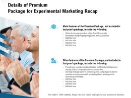 Details Of Premium Package For Experimental Marketing Recap Ppt Model Layout Ideas