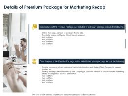 Details Of Premium Package For Marketing Recap Ppt Powerpoint Presentation Slides Icons