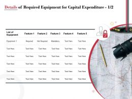 Details Of Required Equipment For Capital Expenditure Ppt Powerpoint Presentation Pictures Background