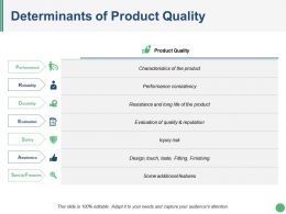 Determinants Of Product Quality Ppt Slides