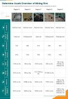 Determine Assets Overview Of Mining Firm Presentation Report Infographic PPT PDF Document