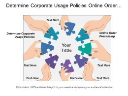 Determine Corporate Usage Policies Online Order Processing Sales Profitability