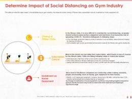 Determine Impact Of Social Distancing On Gym Industry Fitness Ppt Powerpoint Presentation File Tips