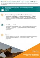 Determine Independent Auditors Report For Financial Analysis Presentation Report Infographic PPT PDF Document