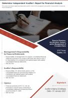 Determine Independent Auditors Report For Financial Analysis Report Infographic PPT PDF Document