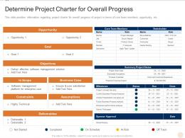 Determine Project Charter For Overall Progress Various PMP Elements It Projects