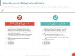 Determine Revival Initiatives For Sports Training Ppt Powerpoint Presentation Example