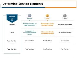 Determine Service Elements Silver Gold Ppt Powerpoint Presentation Portfolio Outline
