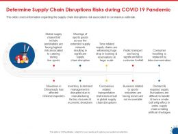 Determine Supply Chain Disruptions Risks During Covid 19 Pandemic Ppt Clipart
