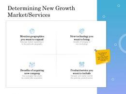 Determining New Growth Market Services Ppt Powerpoint Presentation Slides