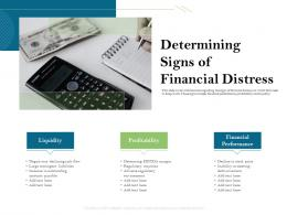 Determining Signs Of Financial Distress Performance Ppt Powerpoint Presentation Infographic