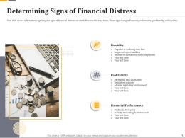 Determining Signs Of Financial Distress Ppt Icon Guide