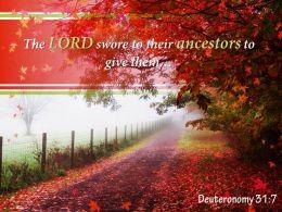 Deuteronomy 31 7 The LORD Swore To Their Ancestors Powerpoint Church Sermon
