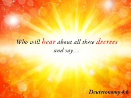 Deuteronomy 4 6 Who Will Hear About All These Powerpoint Church Sermon