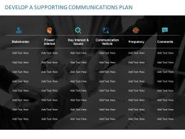 Develop A Supporting Communications Plan Ppt Powerpoint Presentation Slides File