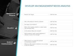 Develop An Engagement Needs Analysis Ppt Powerpoint Presentation Model Rules