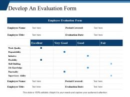 Develop An Evaluation Form Ppt Professional Clipart Images