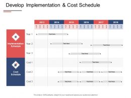 Develop Implementation And Cost Schedule Year Timeline Ppt Powerpoint Presentation Show Example