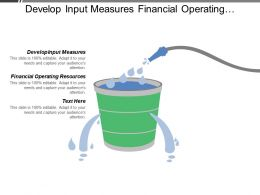 Develop Input Measures Financial Operating Resources Financial Capital Resources