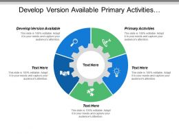 Develop Version Available Primary Activities Transportation Distribution Customer Support