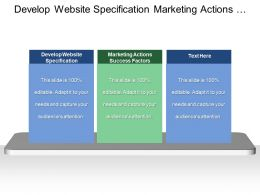 Develop Website Specification Marketing Actions Success Factors Market Potentials