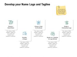 Develop Your Name Logo And Tagline Marketing Ppt Powerpoint Presentation Professional