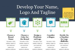 Develop Your Name Logo And Tagline Powerpoint Slide Ideas