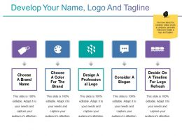 Develop Your Name Logo And Tagline Ppt Icon